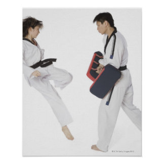 Female karate instructor teaching martial arts poster