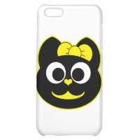 Female Kitty Cat yellow Cover For iPhone 5C