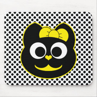 Female Kitty Cat yellow Mouse Pad
