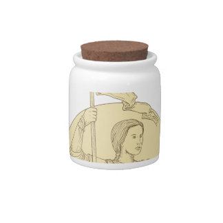 Female Knight  Holding Flag Circle Drawing Candy Jar