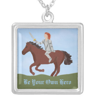 Female Knight on Horse Girl Power Necklace
