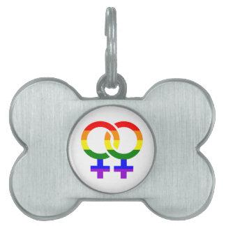 Female lesbian rainbow pet tag