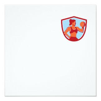 Female Lifting Dumbbell Shield Retro 13 Cm X 13 Cm Square Invitation Card