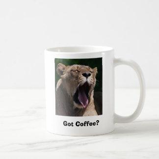 Female Lion Yawn Classic White Coffee Mug