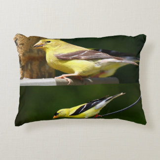 Female & Male American Goldfinches Collage Accent Pillow