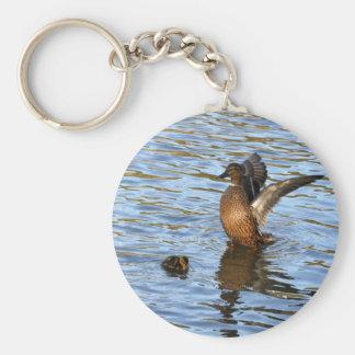 Female Mallard and Duckling Basic Round Button Keychain