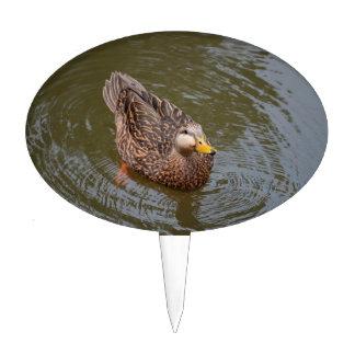female mallard hen duck drinking water cake toppers