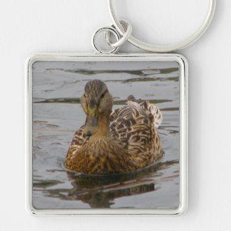 Female Mallard Silver-Colored Square Keychain