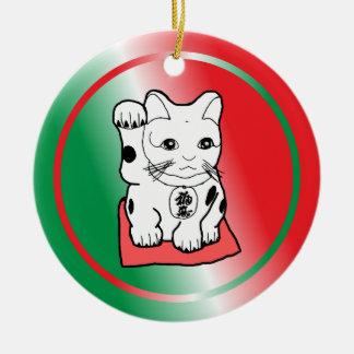 Female Maneki Neko Christmas Ornament