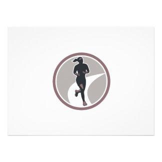 Female Marathon Runner Run Retro Invitations