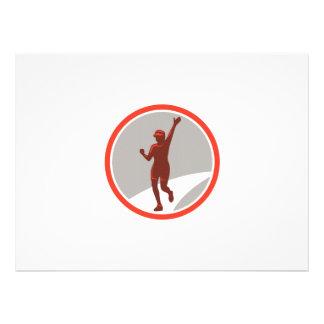 Female Marathon Runner Running Circle Retro Invites