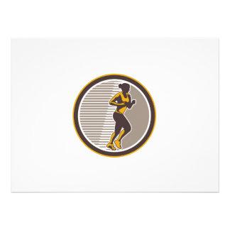 Female Marathon Runner Side View Retro Personalized Invitations