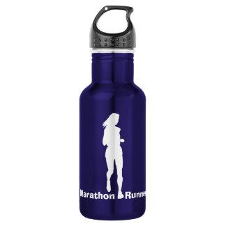 Female Marathon Runner Silhouette Water Bottle