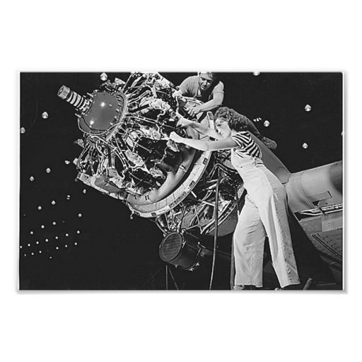 Female Mechanic on a Radial Engine Photographic Print