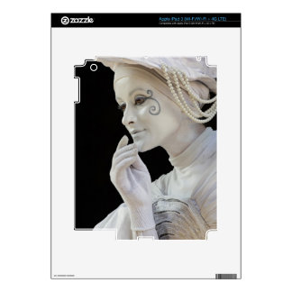Female mime performing on street corner iPad 3 skins