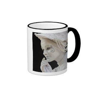 Female mime performing on street corner ringer coffee mug