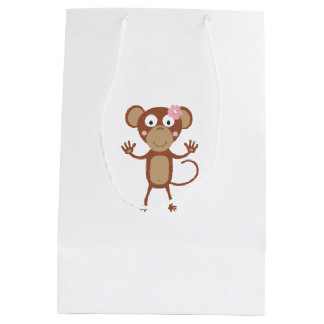 female monkey with flower medium gift bag