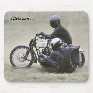 Female motorcycle racer photo mousepad