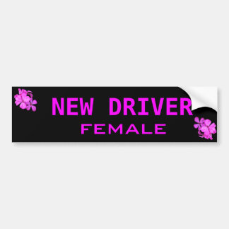 female new driver bumper sticker
