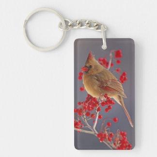 Female Northern Cardinal among hawthorn Double-Sided Rectangular Acrylic Keychain