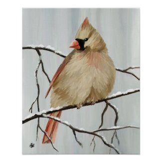 Female Northern Cardinal Art Poster