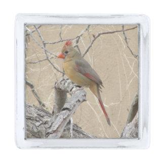 Female Northern Cardinal Silver Finish Lapel Pin