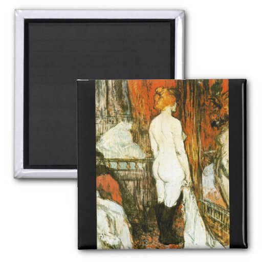 Female Nude by Toulouse-Lautrec 2 Inch Square Magnet