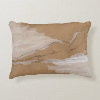 Female Nude Composition Lying in Bed Decorative Pillow