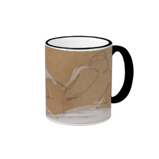 Female Nude Composition Lying in Bed Ringer Mug