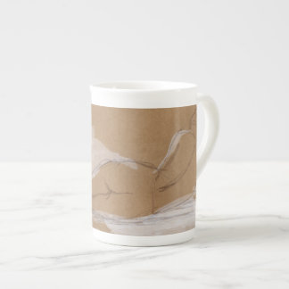 Female Nude Composition Lying in Bed Tea Cup