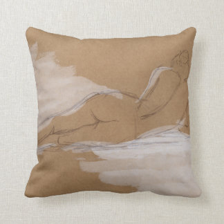 Female Nude Composition Lying in Bed Throw Pillow