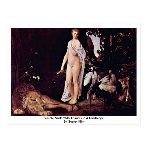 Female Nude With Animals In A Landscape Post Cards