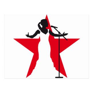 female opera more singer woman postcard