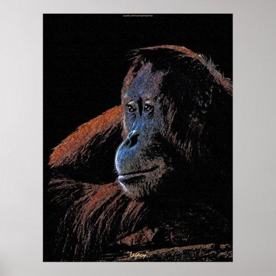 Female Orangutan Great Ape Wildlife Art Poster