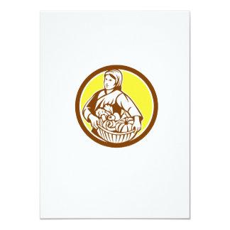Female Organic Farmer Basket Harvest Retro 4.5x6.25 Paper Invitation Card