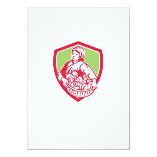 Female Organic Farmer Basket Harvest Shield Retro 4.5x6.25 Paper Invitation Card