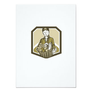 Female Organic Farmer Crop Harvest Woodcut 4.5x6.25 Paper Invitation Card