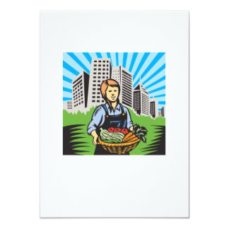 Female Organic Farmer Harvest Building Retro 4.5x6.25 Paper Invitation Card