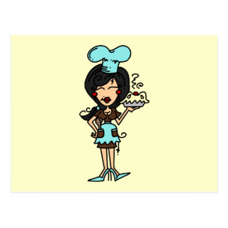 Female Pastry Chef - Black Hair T-shirts and Gifts Postcard