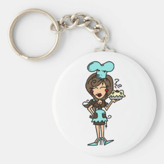 Female Pastry Chef - Brunette T-shirts and Gifts Keychain