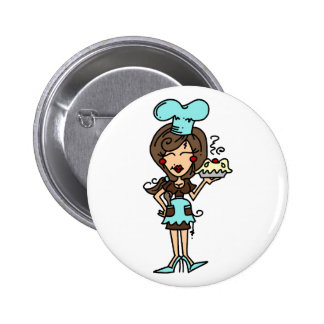 Female Pastry Chef - Brunette T-shirts and Gifts Pinback Button
