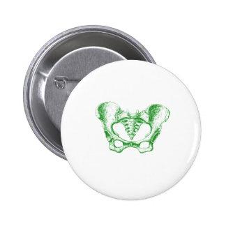 Female Pelvis Green Pinback Buttons