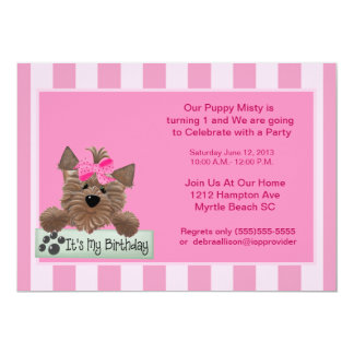 Female Pet  Birthday  Party Invitation