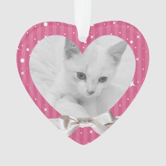 Female Pet's First Christmas Heart Photo Keepsake Ornament