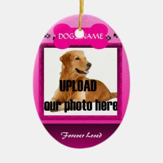 Female Pink Dog Memorial Ceramic Ornament