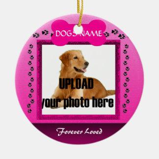 Female Pink Dog Memorial Christmas Tree Ornaments