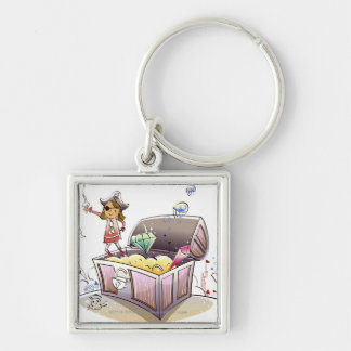 Female pirate standing on a treasure chest keychains