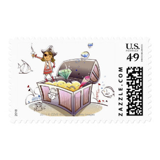 Female pirate standing on a treasure chest postage