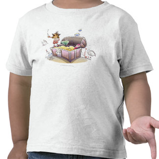 Female pirate standing on a treasure chest t-shirts