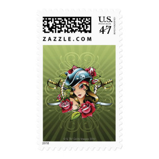 Female pirate with roses and swords postage